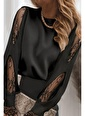 BLACK&GRACE Siyah Kolu Dantel Damla Detaylı Bluz Siyah